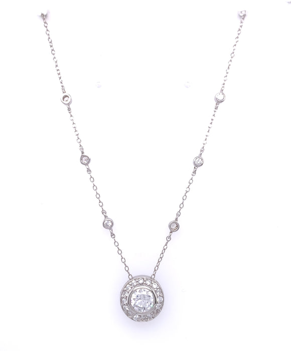 Sterling Silver CZ Halo Necklace