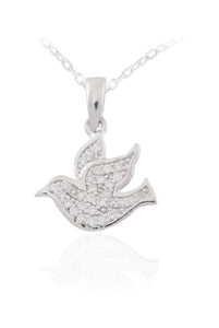 Sterling Silver Confirmation CZ Dove Pendant