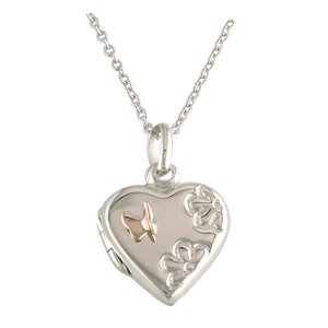 Sterling Silver Cute Butterfly Heart Locket
