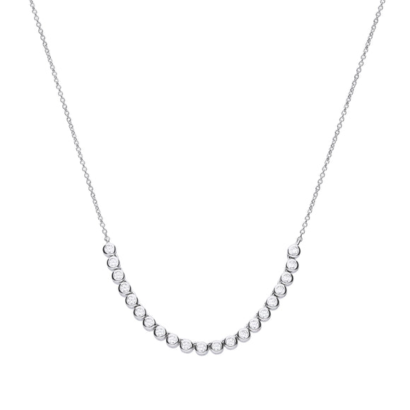 Diamonfire Zirconia Bezel Half Tennis Necklace