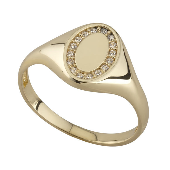 9ct Gold Oval CZ set Signet Ring