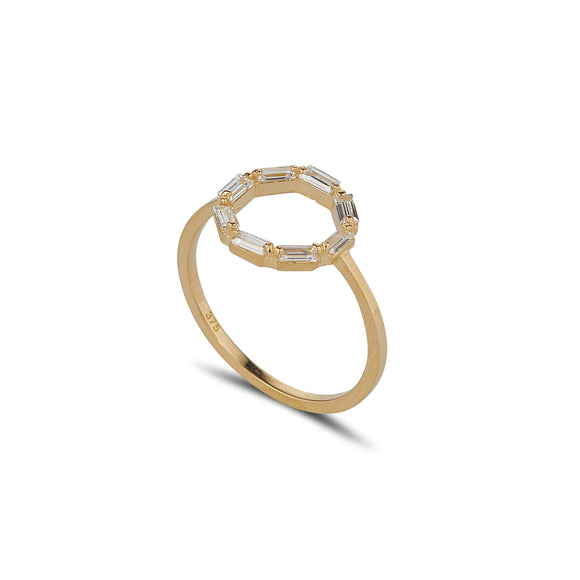 9ct Gold CZ Baguette Circle Ring