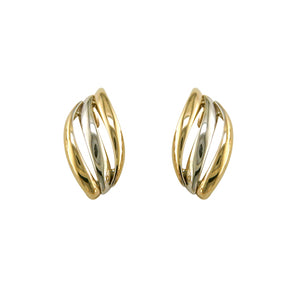 9ct Gold Two-tone 3-Bar Earrings
