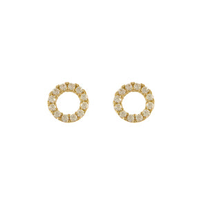 9ct Gold Cute CZ Circle Earrings