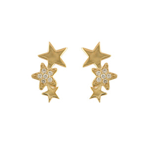9ct Gold Star Trilogy CZ  Earrings