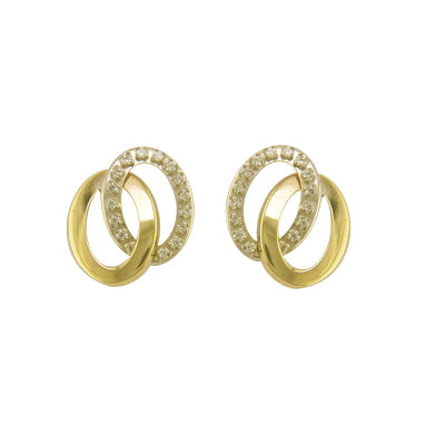 9ct Gold CZ & Polished Oval Earrings