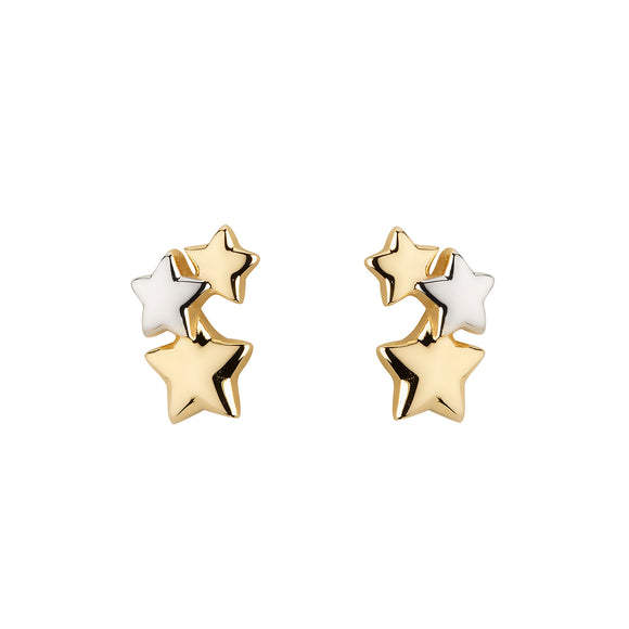 9ct Gold Star Trilogy Stud Earrings