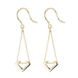 9ct Gold V Chain Drop Earrings