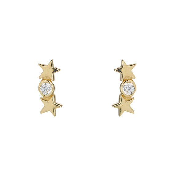 9ct Gold Star & Circle CZ Earrings