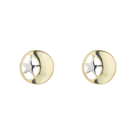 9ct Gold Moon & Star Two-tone Stud Earrings