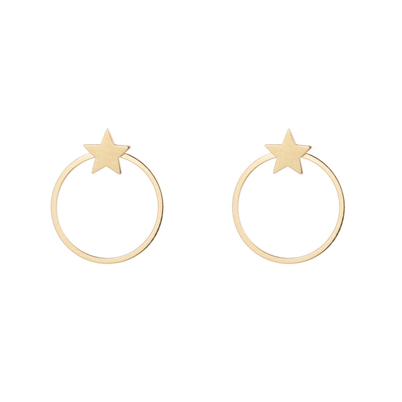 9ct Gold Star Circle Stud Earrings