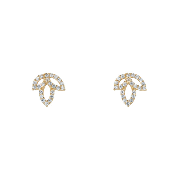 9ct Gold CZ Lotus Flower Stud Earrings