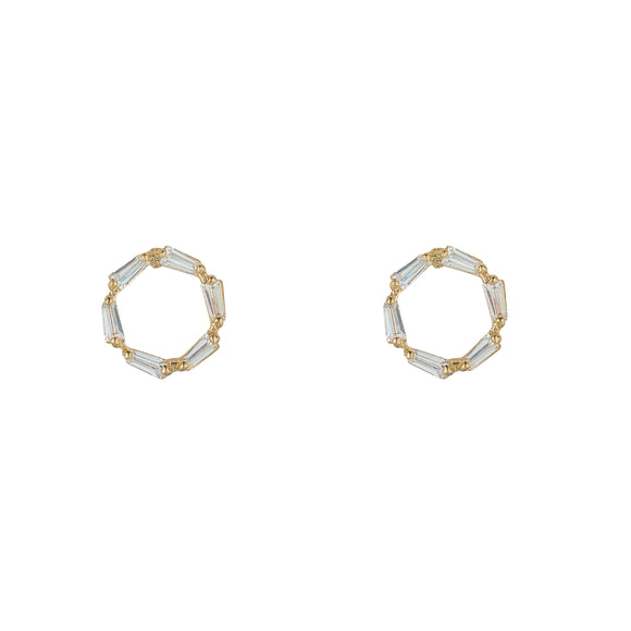 9ct Gold CZ Baguette Circle Stud Earrings