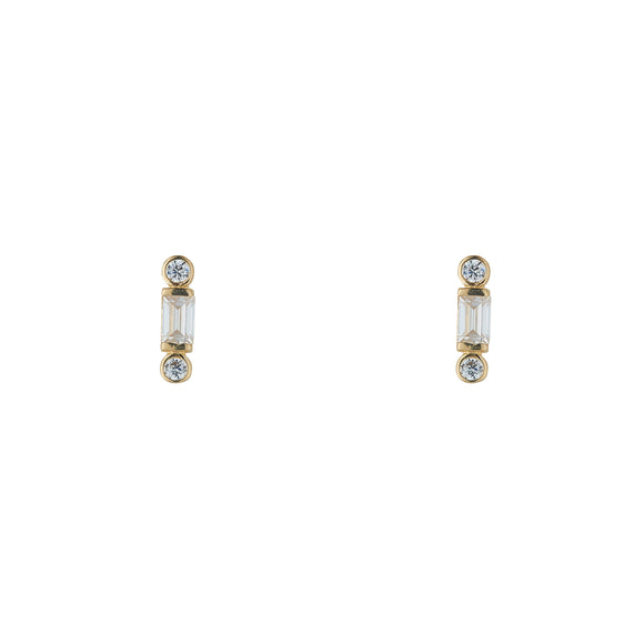9ct Gold CZ Baguette Bar Stud Earrings