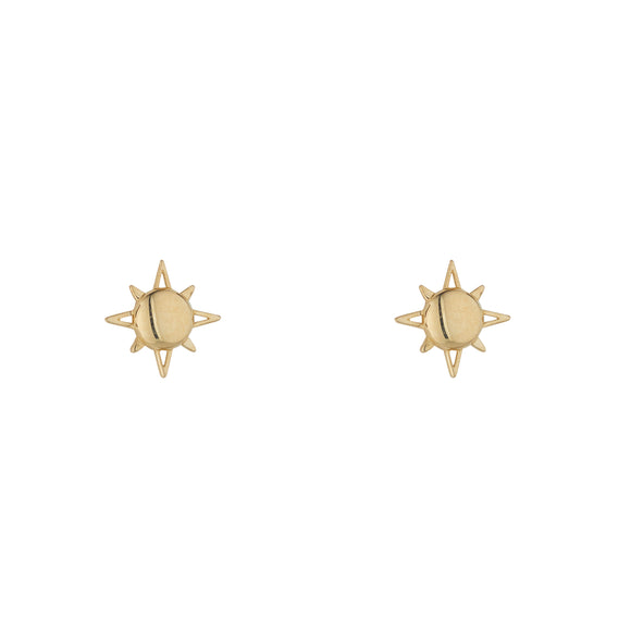 9ct Gold Sun Stud Earrings