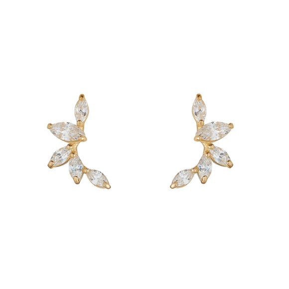 9ct Gold CZ Marquise Crawler Stud Earrings