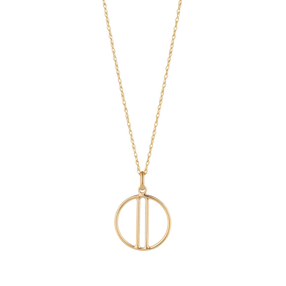9ct Gold Open Circle with Bars Pendant