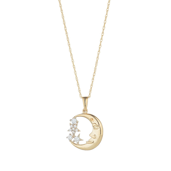 9ct Gold Man in the Moon CZ Pendant