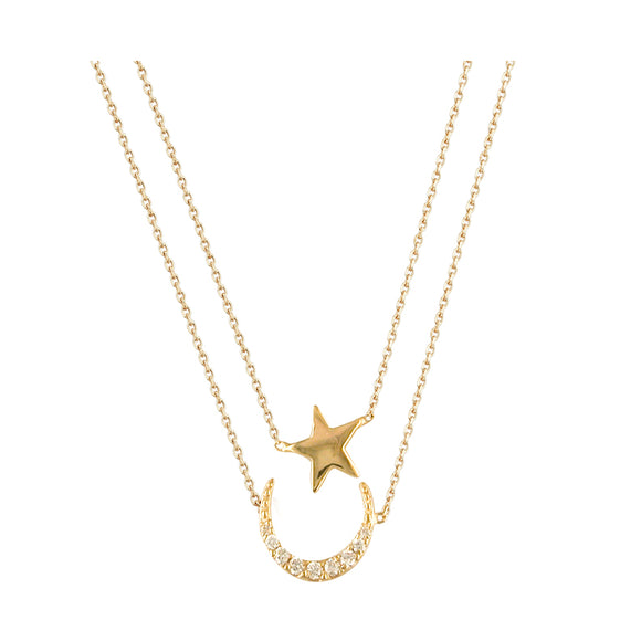9ct Gold Moon & Star CZ Pendant