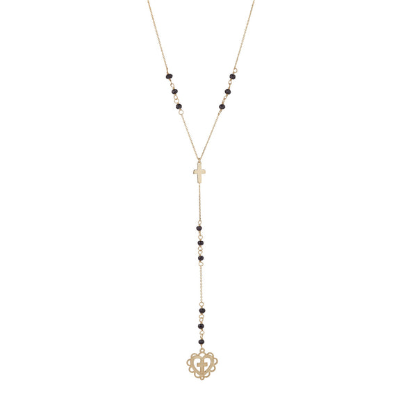9ct Yellow Gold Sacred Heart Rosary Style Necklace with Black Onyx Bead