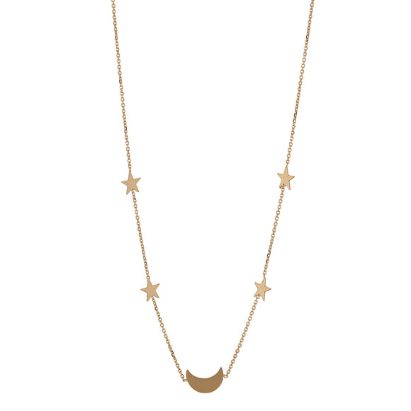 9ct Gold Moon & Stars Necklet