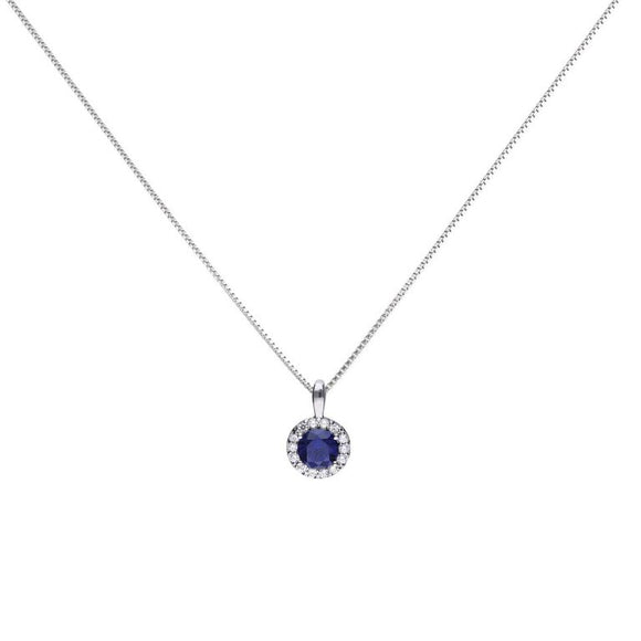 Diamonfire Blue Sapphire Coloured Zirconia Solitaire Pendant P4626