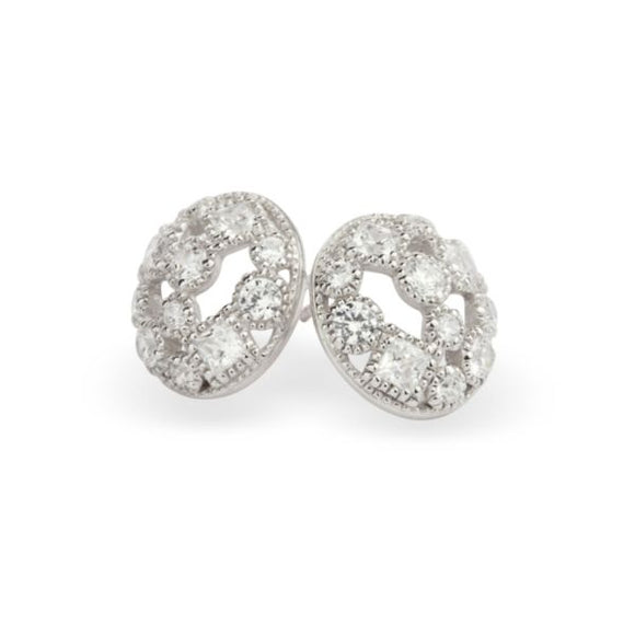 Paul Costelloe Silver Oval Domed CZ Earrings