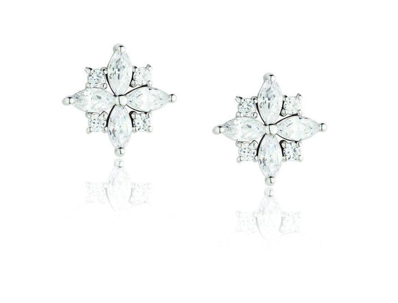 Paul Costelloe Silver CZ Star Stud Earrings