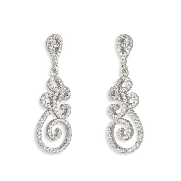 Paul Costelloe Silver CZ Swirl Drop Earrings