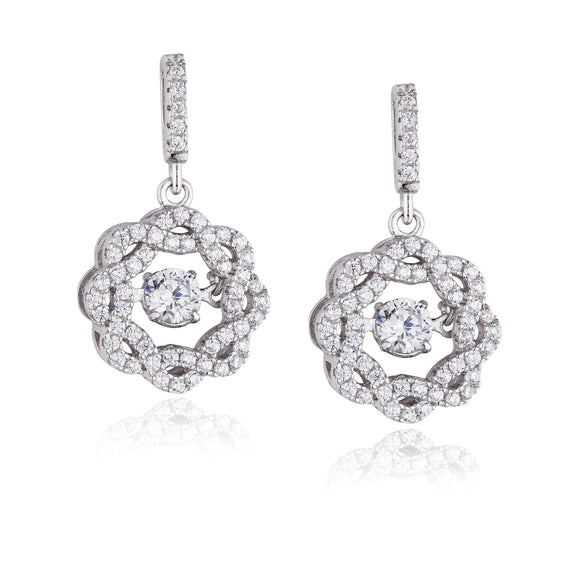 Paul Costelloe Silver CZ Shimmer Drop Earrings