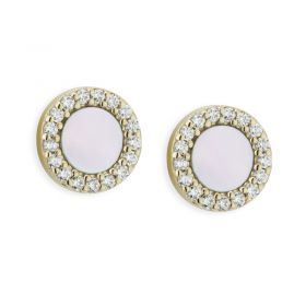 Paul Costelloe Silver Gold tone Mother of Pearl CZ Earrings