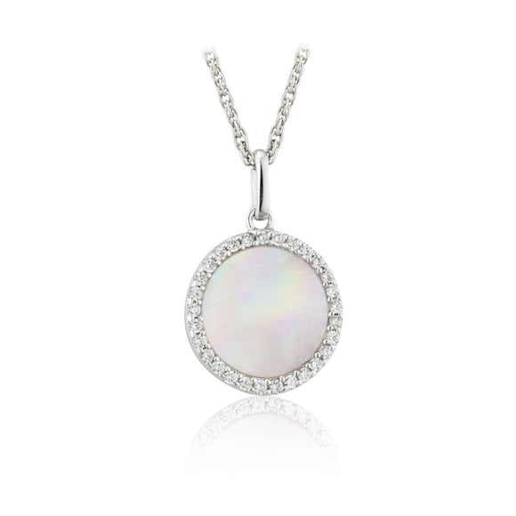 Paul Costelloe Silver CZ Mother of Pearl Pendant