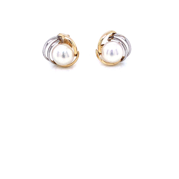 9ct Gold & Pearl Two-tone Stud Earrings