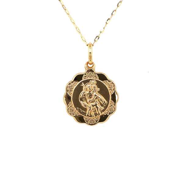 9ct Yellow Gold Medium  St Christopher Medal & Chain