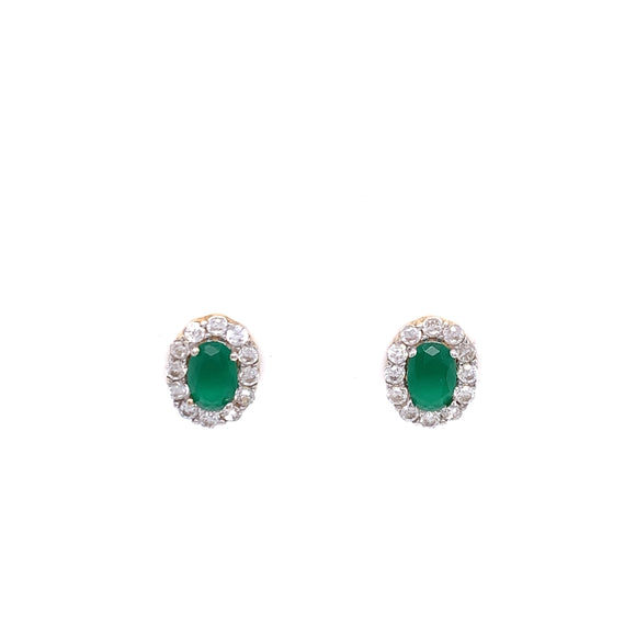 9ct Gold Synthetic Emerald & CZ Cluster Earrings