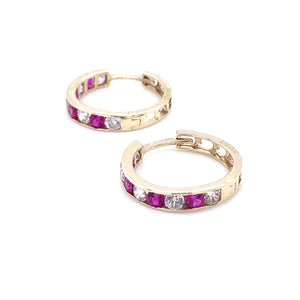 9ct Gold Ruby & CZ Channel Hoop Earrings