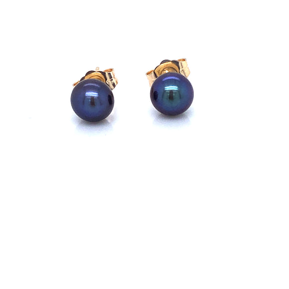 Peacock Freshwater Pearl 5.5-6mm 9ct Gold Stud Earrings
