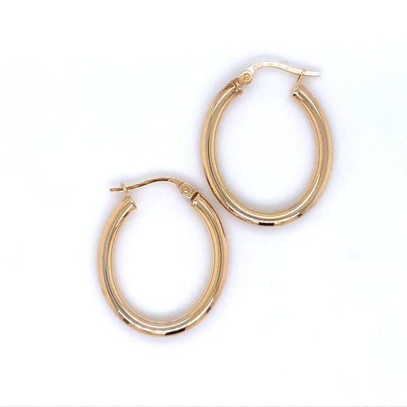 9ct Gold Oval Hoop Earrings