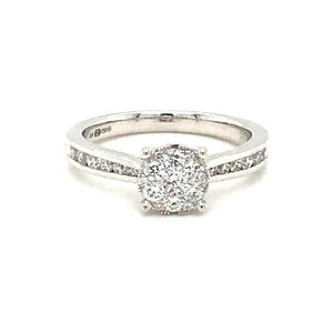 9ct White Gold Diamond Halo 0.51ct Engagement Ring