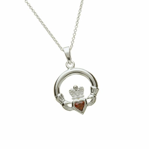 Sterling Silver Claddagh Birthstone Pendant January