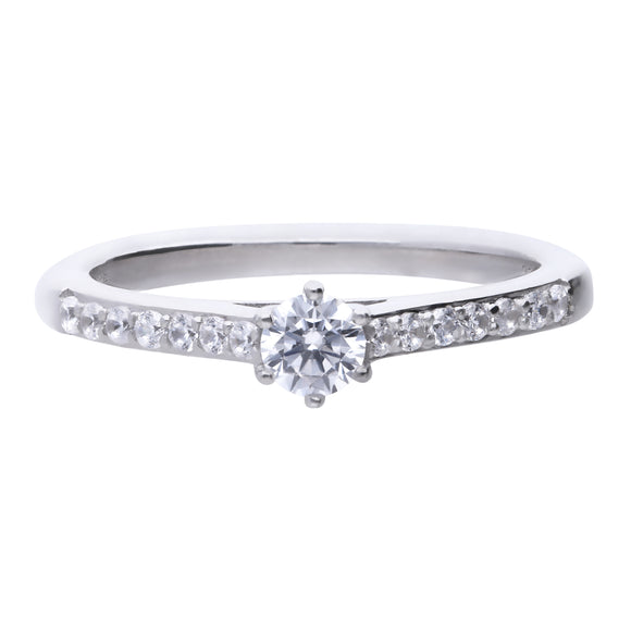 Diamonfire CZ Solitaire Pavé Ring R3754