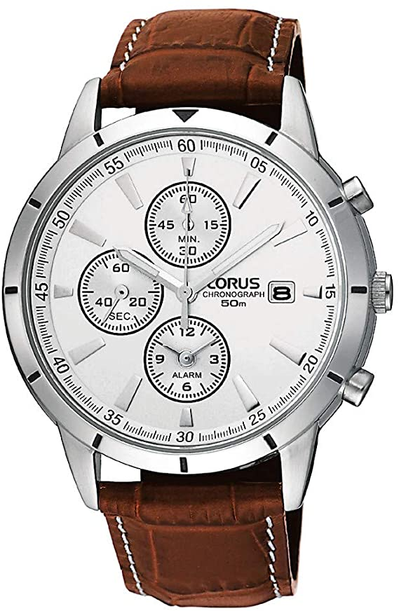 Lorus Men's Steel Chronograph Leather Strap Watch