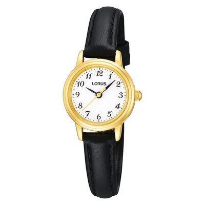 Lorus Ladies' Gold Black Leather Strap Watch