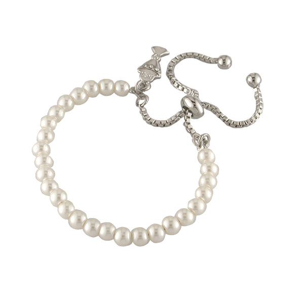 Silver Plated Pearl Communion Adjustable Bracelet