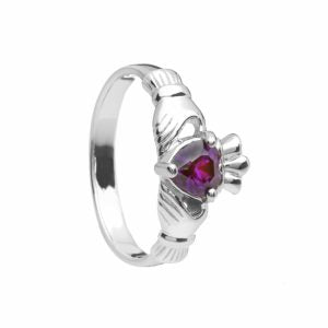 Sterling Silver Birthstone Claddagh Ring February