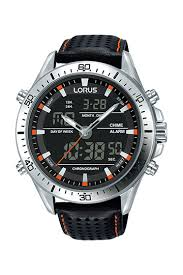 Lorus Men's Steel Duo Chronograph Black Leather Strap Watch