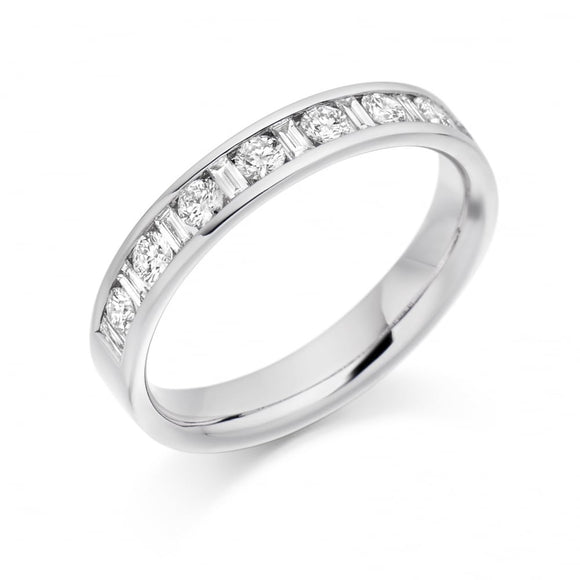 Raphael 18ct White Gold Baguette/Round Diamond Channel-set Eternity Ring