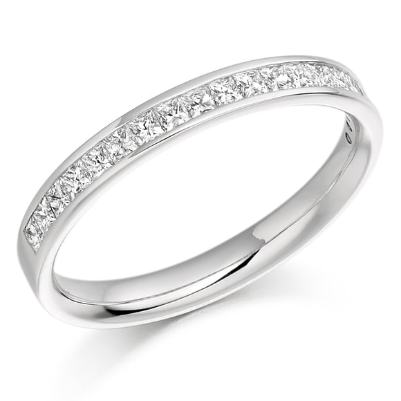 Raphael 18ct White Gold 0.50ct Princess Diamond Channel-set Eternity Ring
