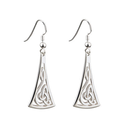Sterling Silver Long Celtic Drop Earrings