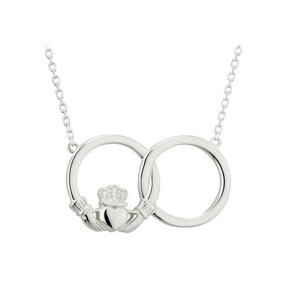Sterling Silver Claddagh Circle Necklet